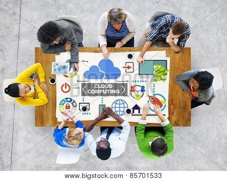 People Meeting Global Communications Cloud Computing Concept