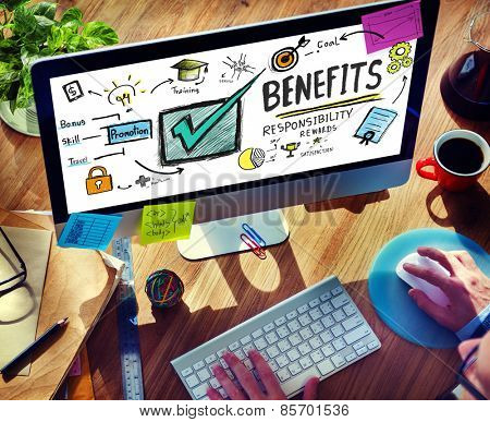 Benefits Gain Profit Earning Income Browsing Technology Concept
