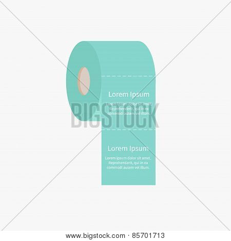 Toilet Paper Roll Icon With Dash Line Flat Design Template
