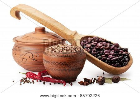 Clay Pot, Wooden Spoon, Lentils, Beans And Spices