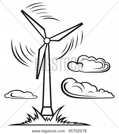 Windmill and clouds