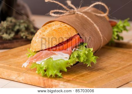 Sandwich From Fresh Baguette