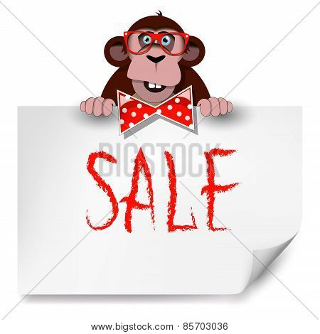 Cartoon Monkey With Glasses Holding A Sheet Of Paper On Which Is Written Sale.
