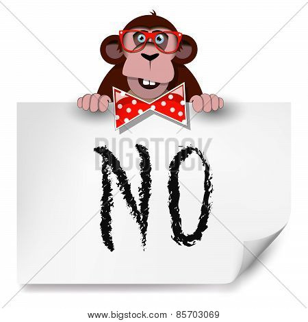 Cartoon Monkey With Glasses Holding A Sheet Of Paper On Which Is Written No.