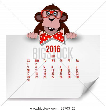 Calendar With A Monkey For 2016. The Month Of Jule.