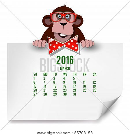 Calendar With A Monkey For 2016. The Month Of March.