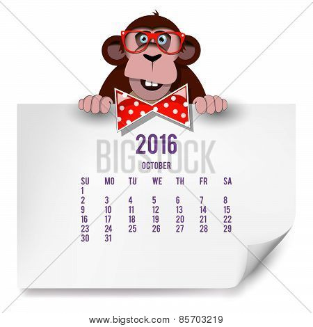 Calendar With A Monkey For 2016. The Month Of October.