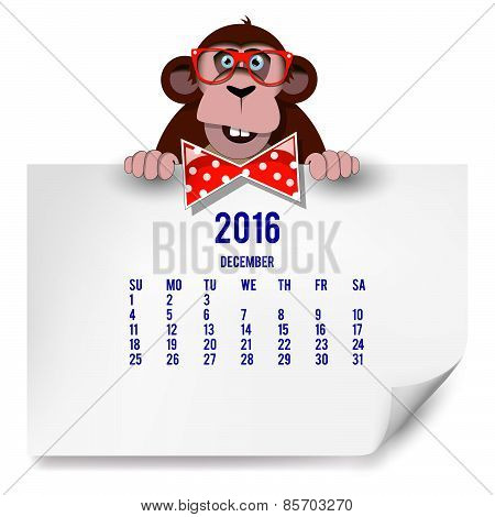 Calendar With A Monkey For 2016. The Month Of December.