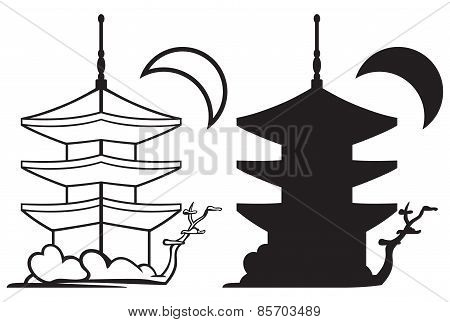Pagoda. Japan architecture silhouette