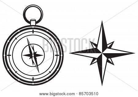 Black wind rose and compass