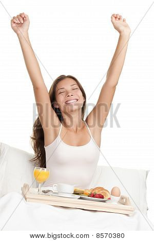 Morning Woman In Bed With Breakfast