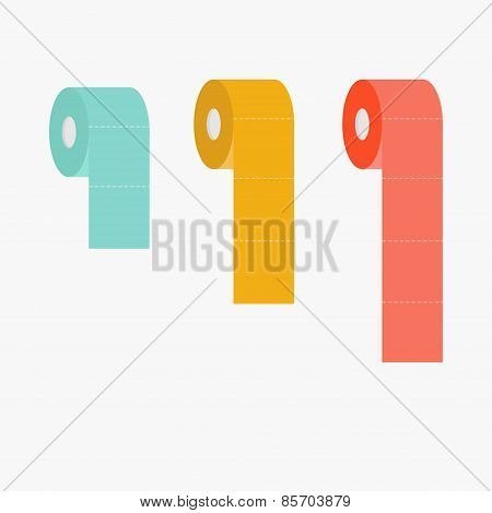 Toilet Paper Roll Set Dash Line Flat Design Infographic Template