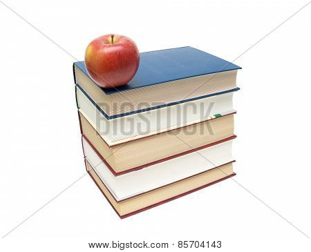 Stack Of Books And Red Apple Isolated On White Background