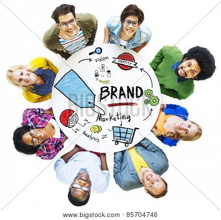 Diverse People Aerial View Meeting Marketing Brand Concept