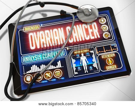Ovarian Cancer on the Display of Medical Tablet.