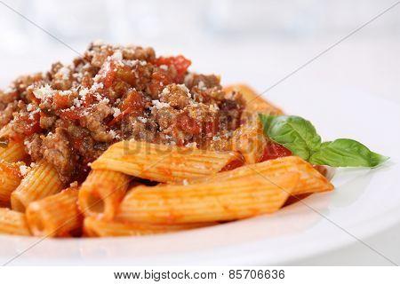 Penne Bolognese Or Bolognaise Sauce Noodles Pasta Meal