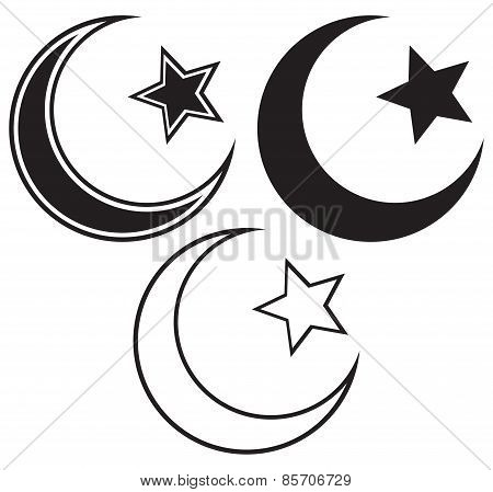 Religious Islamic Star and Crescent