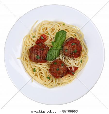 Spaghetti With Meatballs Noodles Pasta Meal Isolated