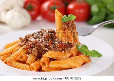 Eating Pasta Bolognese Or Bolognaise Sauce Noodles Meal