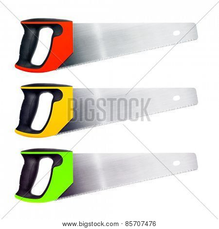 Handsaw set isolated on white.