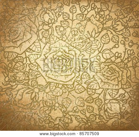 Vector Floral Pattern Of Roses On Old Paper Background.