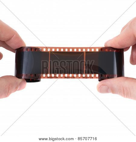 Old Photographic Film In The Hands