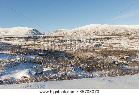 Winter Dovrefjell Hills Norway