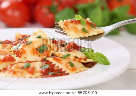 Eating Italian Pasta Ravioli With Tomato Sauce Noodles Meal
