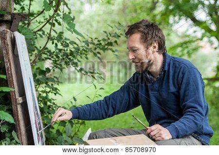 Fine artist painting, Plein-air.
