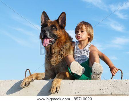 Cute Boy And Threatening German Shepherd.
