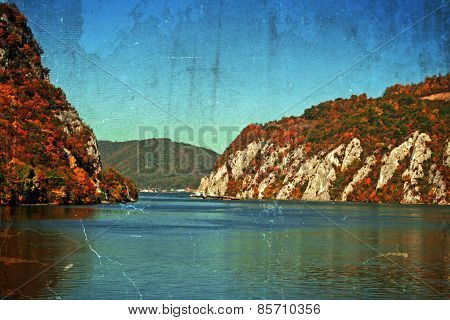 Old Postcard With Landscape In The Danube Gorges, Romania