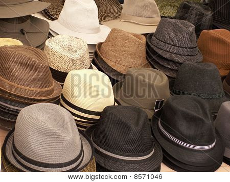 Mens' Hats Stacked