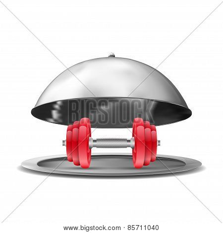 Vector silver opened cloche rod on white background