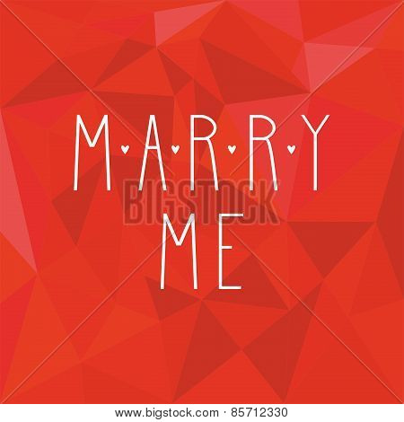 Marry me vector card on red background