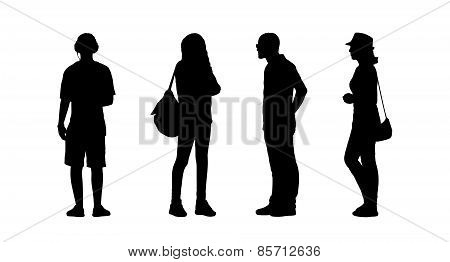 People Standing Outdoor Silhouettes Set 25