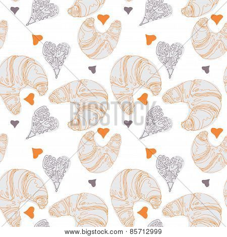Seamless pattern with croissants