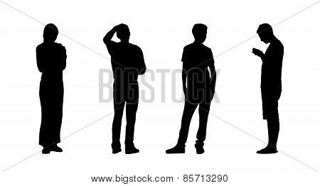 People Standing Outdoor Silhouettes Set 23