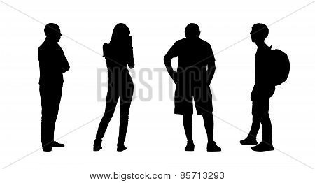 People Standing Outdoor Silhouettes Set 22