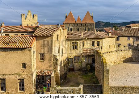 Inside The Fortified City Of Carcassonne - France
