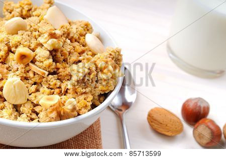 Bowl Full Of Cereal With Dried Fruits Top View