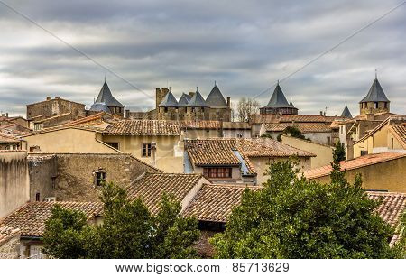 View Of The Medieval City Of Carcassonne - France