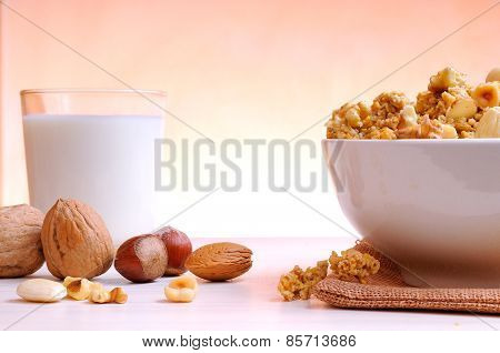 Bowl Full Of Cereal With Dried Fruits