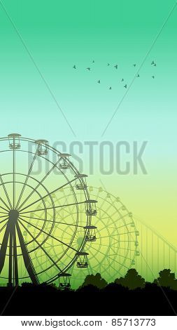 Vertical Illustration Of Roller-coaster And Ferris Wheel.