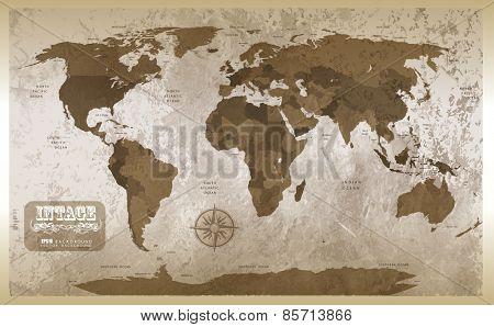 Grunge map background. Illustration