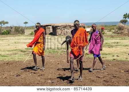 MASAI MARA,KENYA, AFRICA- FEB 12 Masai men,review of daily life of local people,near to Masai Mara N