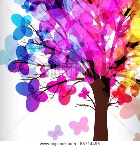 abstract background, tree with branches made of colorful butterflies.