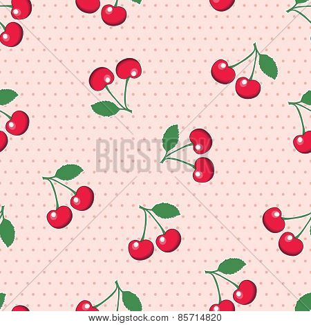 Sweet, red cherries, on retro style pink polka dot background. Seamless design. EPS10 vector format.