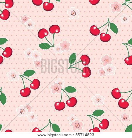 Sweet, red cherries with blossoms, on retro style pink polka dot background. Seamless design. EPS10 vector format.
