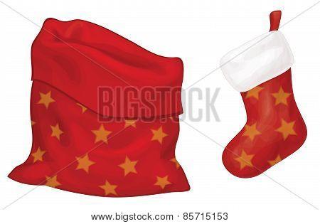 Vector Santa Claus bag and sock.