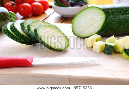 Green Zucchini Prepared On Cutting Board